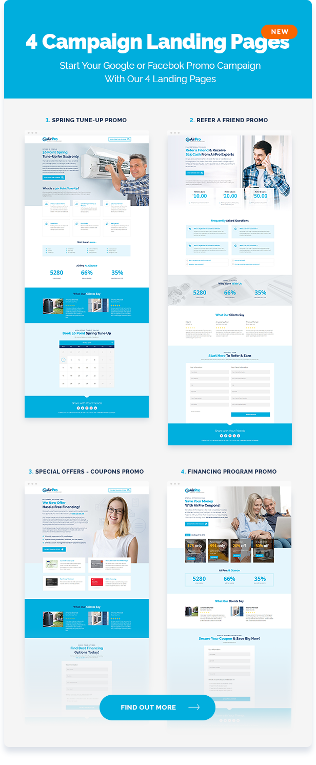 airpro theme page elements - lanfing pages